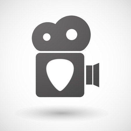 plectrum: Illustration of an isolated cinema camera icon with a plectrum
