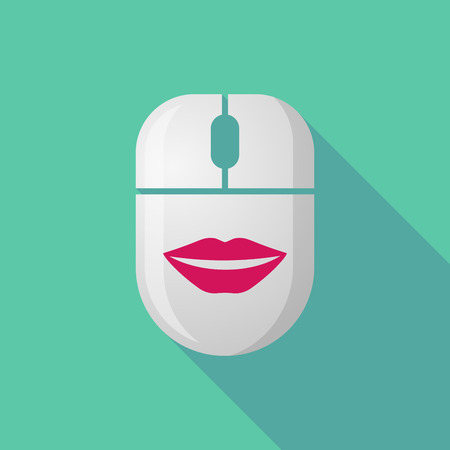 long mouth: Illustration of a wireless long shadow mouse icon with   a female mouth smiling
