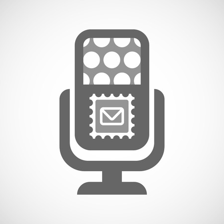 voice mail: Illustration of an isolated microphone icon with  a mail stamp sign