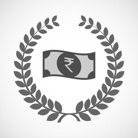 bank note: Illustration of an isolated laurel wreath icon with  a rupee bank note icon