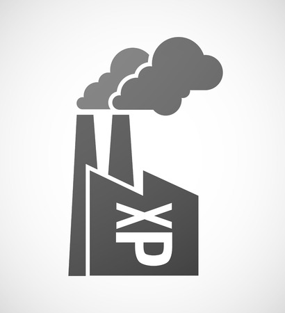 sticking: Illustration of an isolated industrial factory icon with  a Tongue sticking text face emoticon