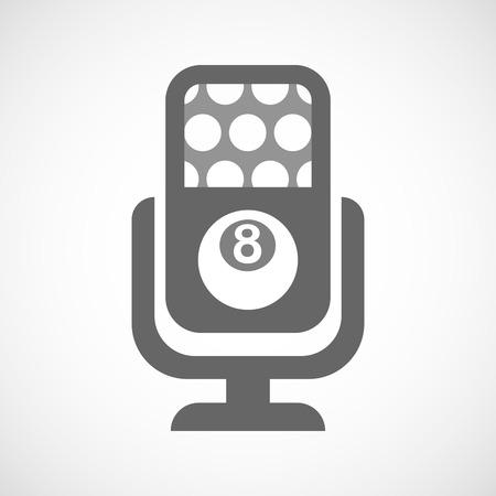 bola de billar: Ilustraci�n de un icono de micr�fono aislado con una bola de billar Vectores