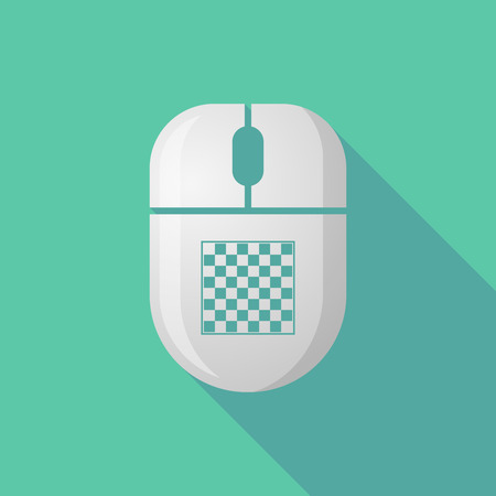 cordless: Illustration of a wireless long shadow mouse icon with   a chess board