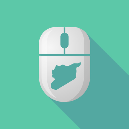 cordless: Illustration of a wireless long shadow mouse icon with   the map of Syria