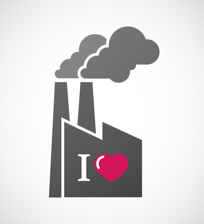 glyph: Illustration of an isolated industrial factory icon with  an  I love glyph