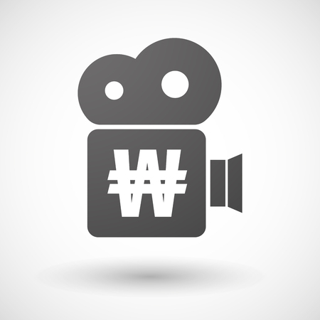 won: Illustration of an isolated cinema camera icon with a won currency sign