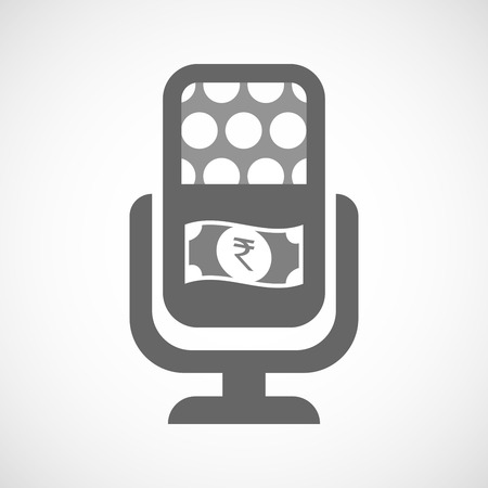 bank records: Illustration of an isolated microphone icon with  a rupee bank note icon