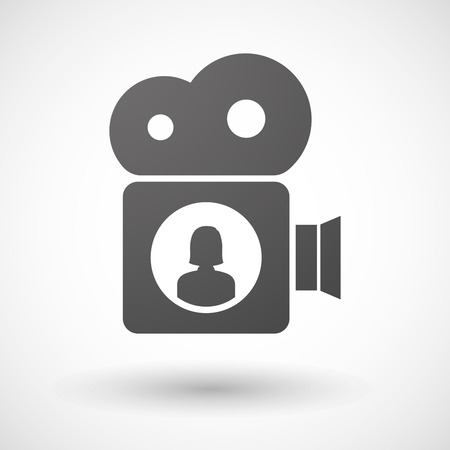 users video: Illustration of an isolated cinema camera icon with a female avatar