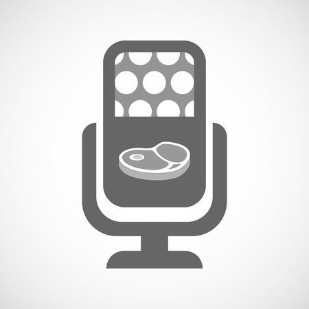 Illustration of an isolated microphone icon with  a steak icon