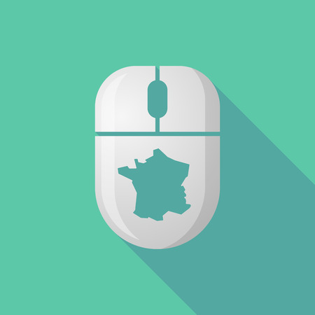 peripheral: Illustration of a wireless long shadow mouse icon with   the map of France Illustration