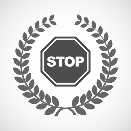award background: Illustration of an isolated laurel wreath icon with  a stop signal Illustration