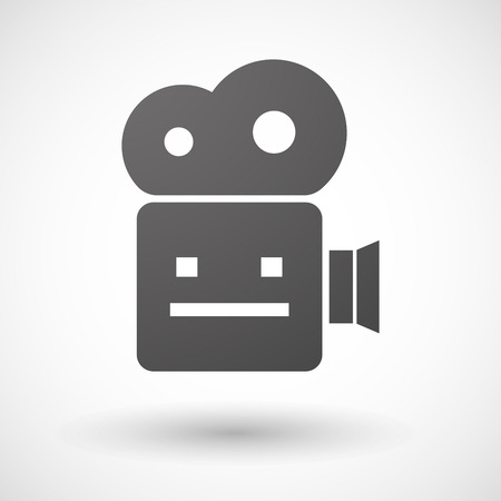 emotionless: Illustration of an isolated cinema camera icon with a emotionless text face Illustration