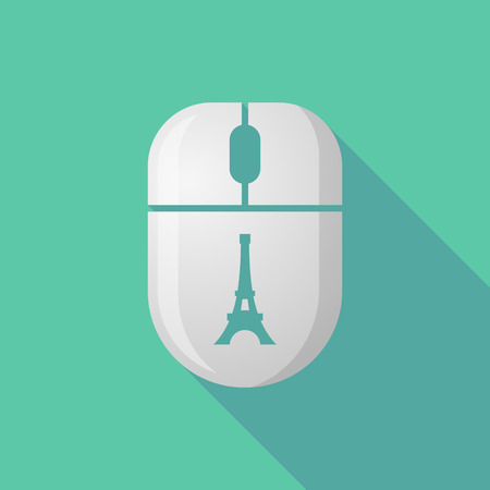 cordless: Illustration of a wireless long shadow mouse icon with    the Eiffel tower Illustration