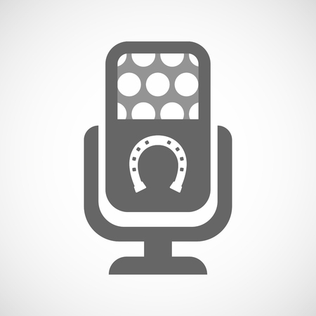 bridle: Illustration of an isolated microphone icon with  a horseshoe sign Illustration