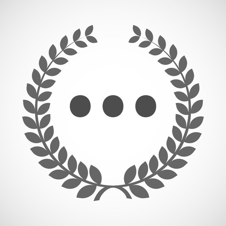 ellipsis: Illustration of an isolated laurel wreath icon with  an ellipsis orthographic sign
