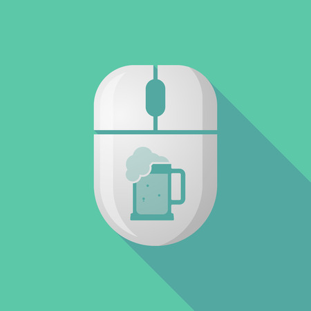 beer jar: Illustration of a wireless long shadow mouse icon with   a beer jar icon