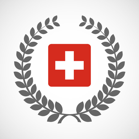 swiss flag: Illustration of an isolated laurel wreath icon with   the Swiss flag