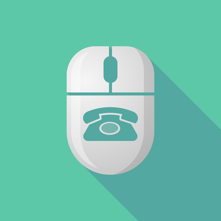 cordless phone: Illustration of a wireless long shadow mouse icon with   a retro telephone sign
