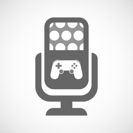 game pad: Illustration of an isolated microphone icon with  a game pad