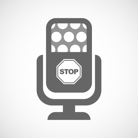stop signal: Illustration of an isolated microphone icon with  a stop signal