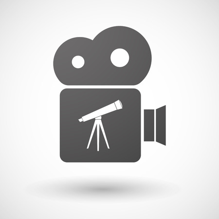 cinema viewing: Illustration of an isolated cinema camera icon with a telescope