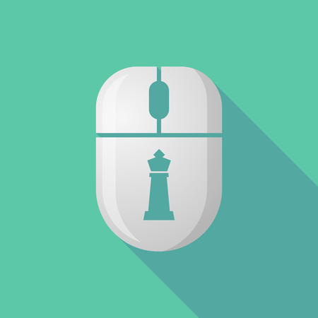 cordless: Illustration of a wireless long shadow mouse icon with  a  king   chess figure