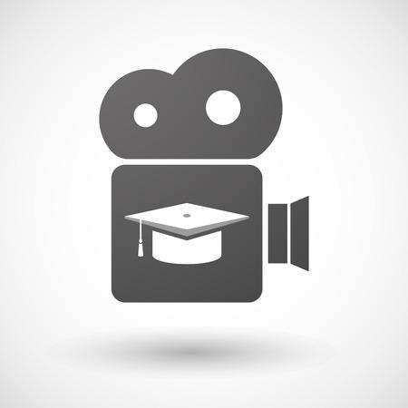 격리 된 시네마 카메라 아이콘 졸업 모자와 그림