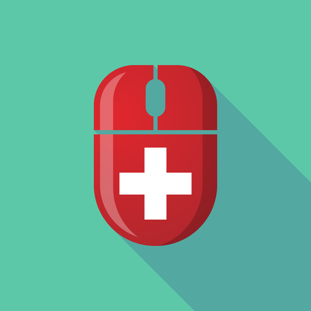 swiss insignia: Illustration of a wireless long shadow mouse icon with    the Swiss flag