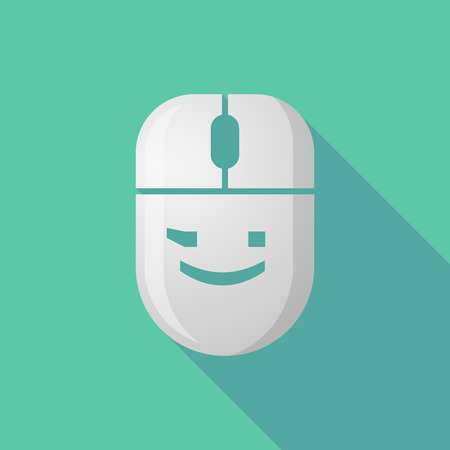 wink: Illustration of a wireless long shadow mouse icon with   a wink text face emoticon Illustration
