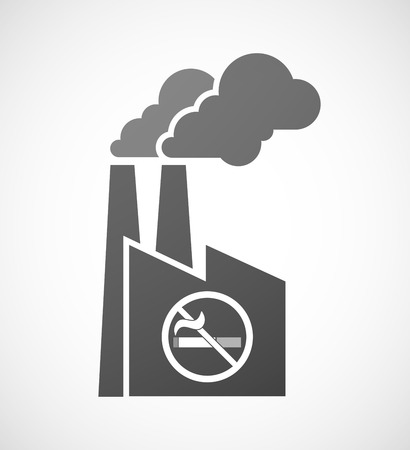 abstain: Illustration of an isolated industrial factory icon with  a no smoking sign Illustration