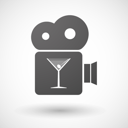 vermouth: Illustration of an isolated cinema camera icon with a cocktail glass