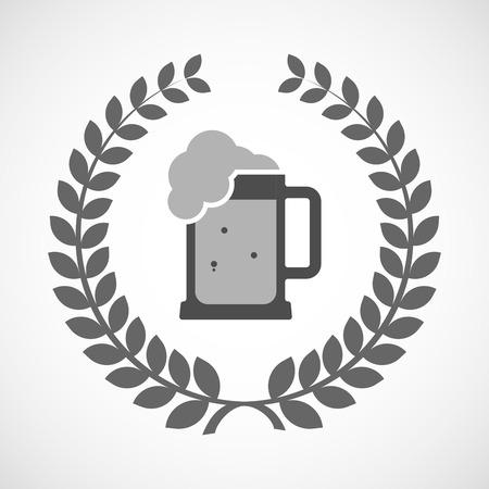 tarro cerveza: Ilustración de un icono de la corona de laurel aislado con un icono de jarra de cerveza