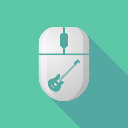 cordless: Illustration of a wireless long shadow mouse icon with   an electric guitar