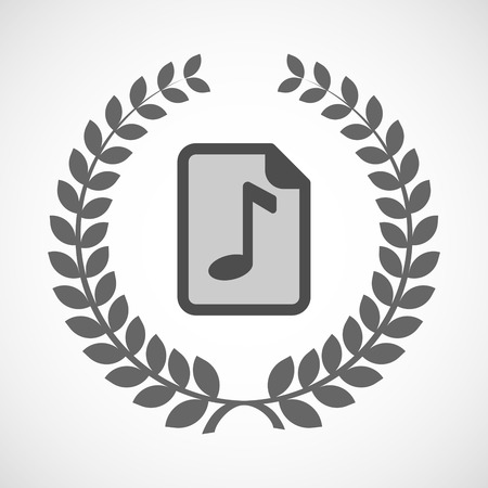 music score: Illustration of an isolated laurel wreath icon with  a music score icon Illustration