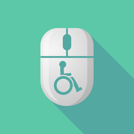 scroll wheel: Illustration of a wireless long shadow mouse icon with   a human figure in a wheelchair icon Illustration