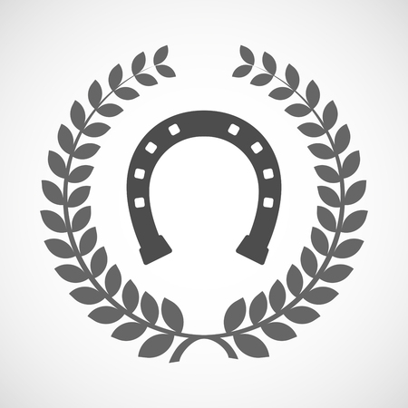 bridle: Illustration of an isolated laurel wreath icon with  a horseshoe sign