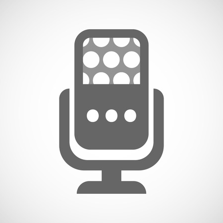 orthographic: Illustration of an isolated microphone icon with  an ellipsis orthographic sign
