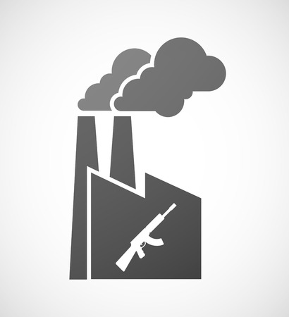 industrial machine: Illustration of an isolated industrial factory icon with  a machine gun sign Illustration