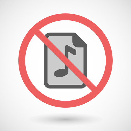 partition musique: Illustration d'un signal vectoriel interdit avec une ic�ne de partition