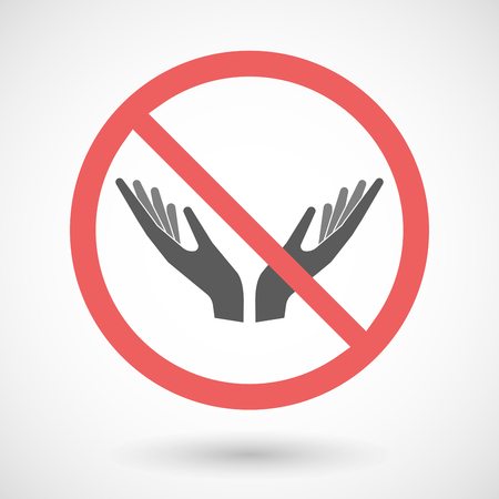 ease: Illustration of a forbidden vector signal with   two hands offering