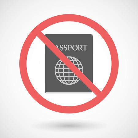 no pase: Ilustraci�n de un vector de se�al de prohibido con un pasaporte