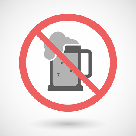 beer jar: Illustration of a forbidden vector signal with   a beer jar icon