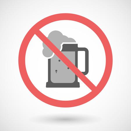 tarro cerveza: Ilustración de una señal de prohibido vector con el icono de jarra de cerveza