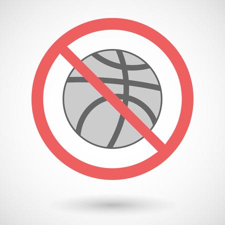 forbidden: Illustration of a forbidden vector signal with   a basketball ball