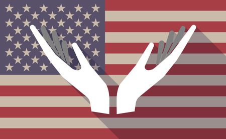 sustain: Illustration of a long shadow vector USA flag icon with   two hands offering Illustration