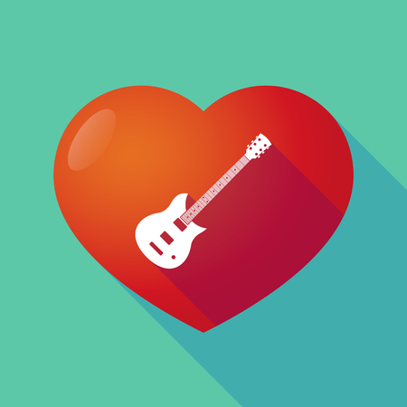 seduction: Illustration of a long shadow red heart with  an electric guitar