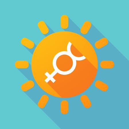 Illustration of a long shadow sun with the mercury planet symbol Vektoros illusztráció