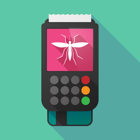 Illustration of a long shadow dataphone with  a mosquito