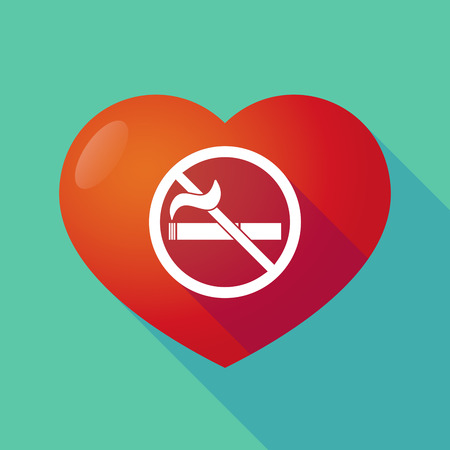 abstain: Illustration of a long shadow red heart with  a no smoking sign