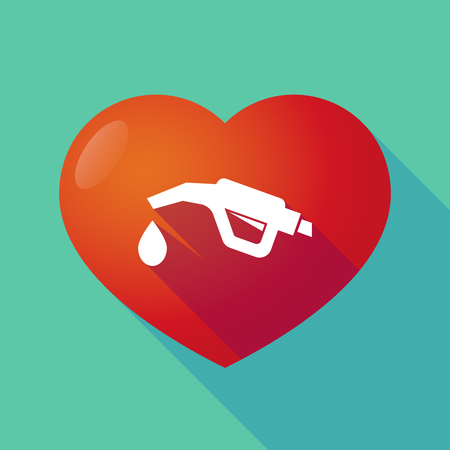 seduction: Illustration of a long shadow red heart with  a gas hose icon